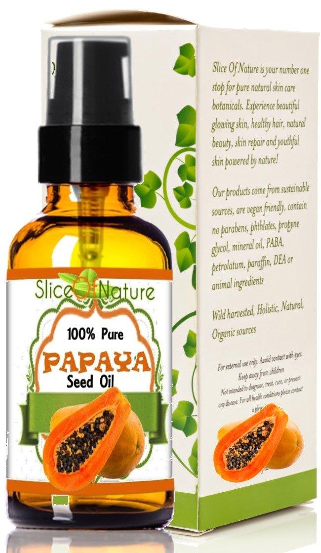 Slice Of Nature VIRGIN PAPAYA OIL - Cold Pressed 100% Pure Papaya Seed Oil with Papaya Enzyme Papain - Papaya Oil for Face Body 1 oz
