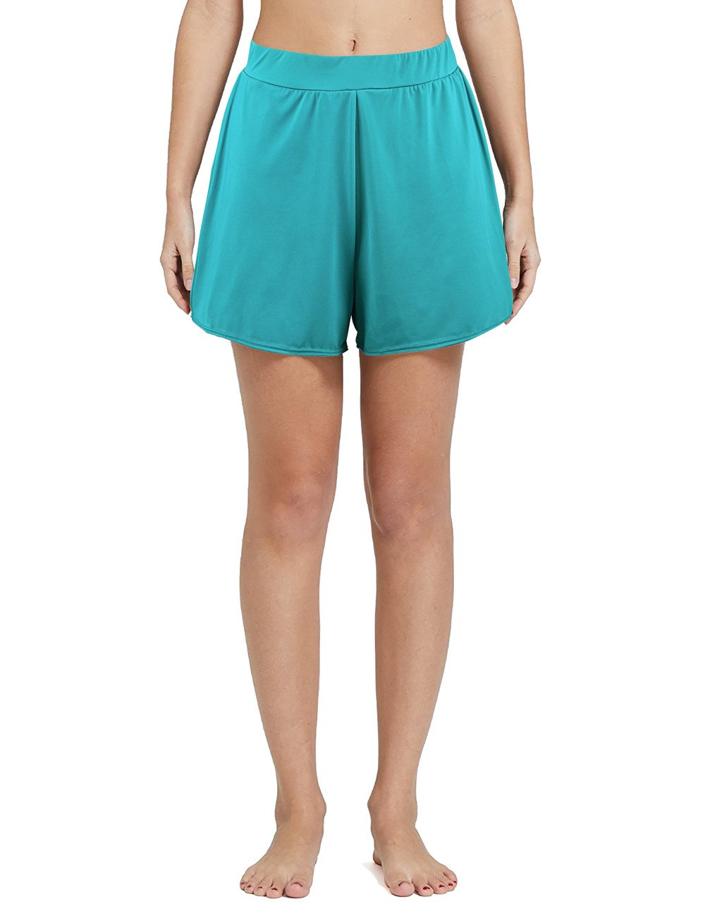 Nonwe Women's Solid A-Line Boyshort Loose Board Shorts Turquoise 18