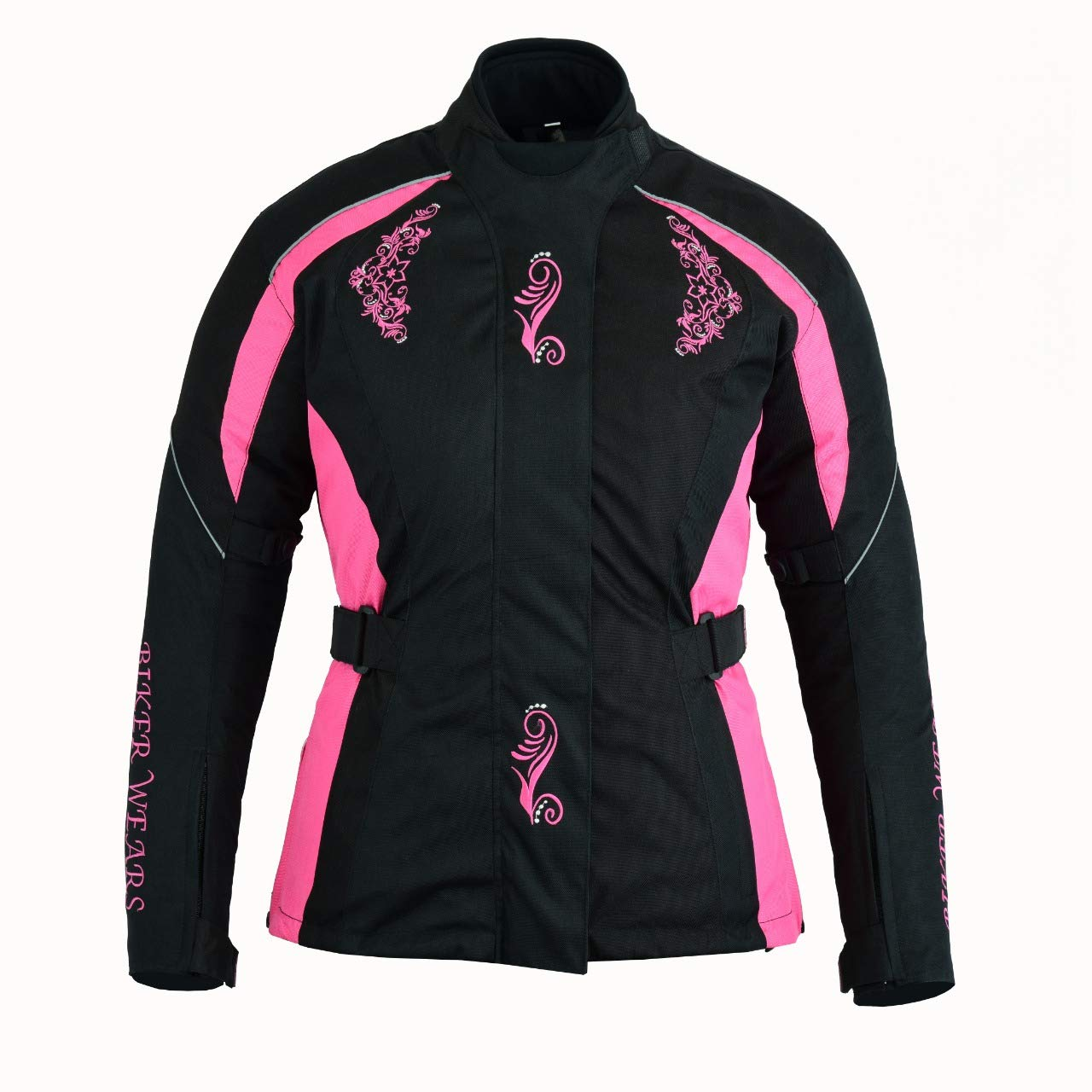 Sarfaraz World Se/ñoras Moto Moto Scooter Impermeable Textil Rosa Chaqueta blindada protectora de seguridad