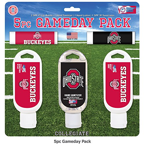 Worthy Promo NCAA Ohio State Buckeyes 5-Piece Game Day Pack with 2 Lip Balms, 1 Hand Lotion, 1 Hand Sanitizer, 1 SPF 30 Sport Sunscreen
