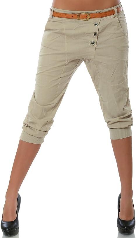 Damen Chino Capri Shorts 3//4 Hot Pants Stoffhose Hüfthose lang Bermuda Hot