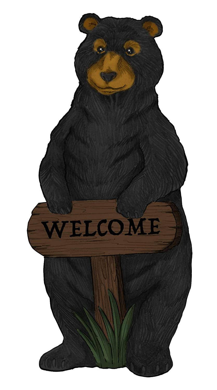 Alpine Corporation ZEN732 Welcome Sign Bear Garden Statue w/Timer, 36 inch Tall, Black and Brown
