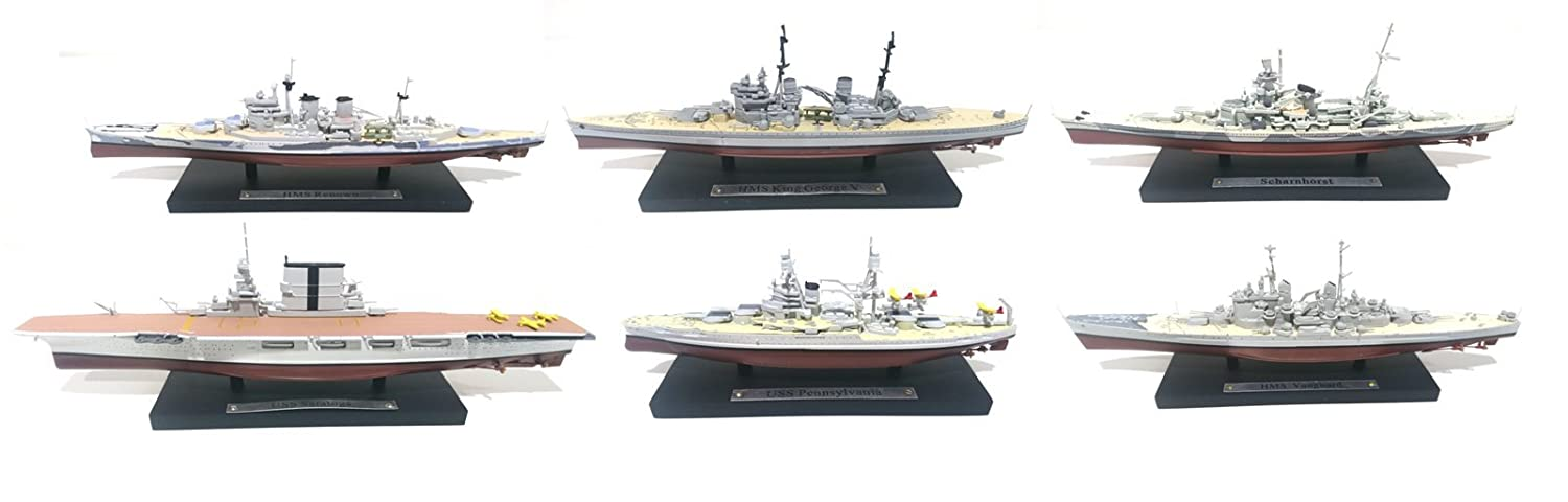 Générique Lot de 6 Navires de Guerre Dont 1 Porte-Avions 1/1250 US Navy-Royal Navy-Kriegsmarine (ref: 04-22-28-30-32-33) ATLAS