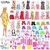 Mylass 123 Pcs Clothes Set EU CE-EN71 Certified Include 15 Pack Clothes Party Grown Outfits And 108 Pcs Different Doll Accessories for 11.5 Inch Barbie Dolls