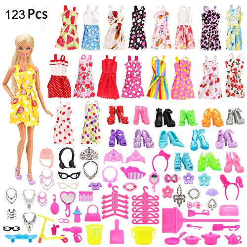 (Mylass 123 Pcs Clothes Set EU CE-EN71 Certified Include 15 Pack Clothes Party Grown Outfits And 108 Pcs Different Doll Accessories for 11.5 Inch Barbie)