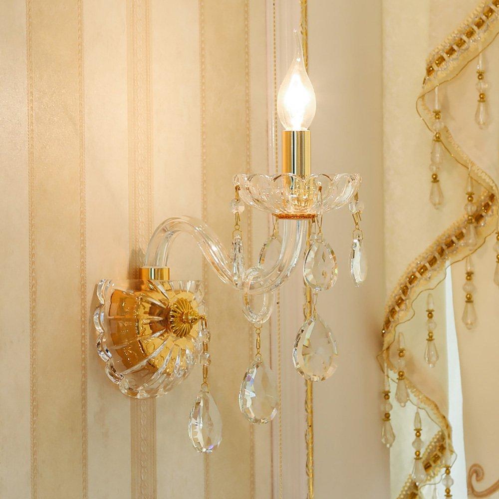 Chen Lampada da parete europea della lampada della candela della stanza da letto della stanza da letto della lampada da parete di cristallo del cristallo del pendente (dimensioni   15  38cm)
