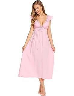 Ekouaer Womens Victorian Nightgown Vintage Sleeveless Nightdress Long Soft  Sleepwear S-XXL 0ba0eb59d