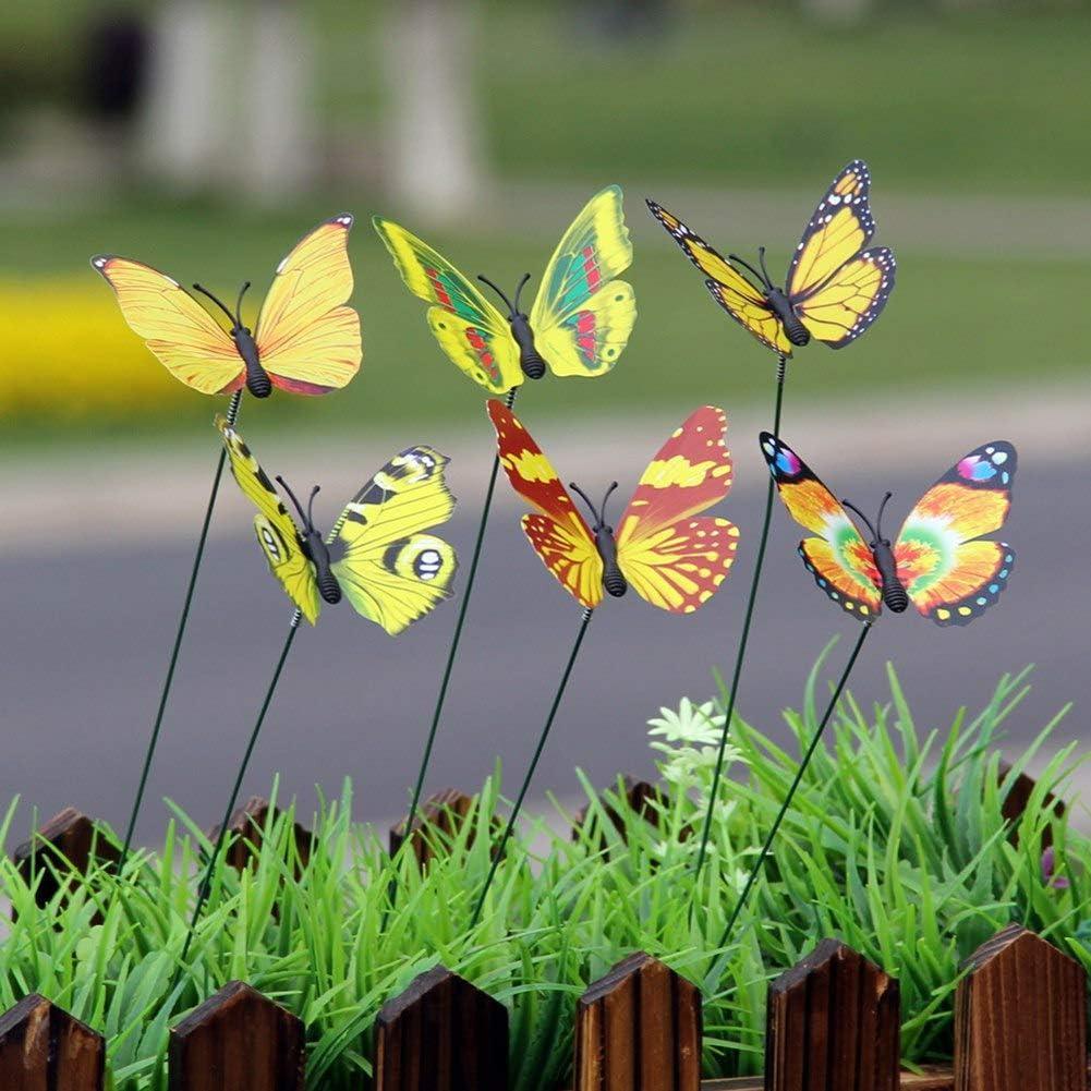 patio decoraci/ón de macetas jard/ín decoraci/ón de color brocado al aire libre Kinkei 10 varillas de 7 cm de simulaci/ón de mariposa de jardiner/ía