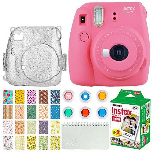Fujifilm Instax Mini 9 Instant Camera (Flamingo Pink) + Fujifilm Instax Mini Twin Pack Instant Film (20 Exposures) + Glitter Hard Case + Colored Filters + Album + Sticker Frames Nature Package