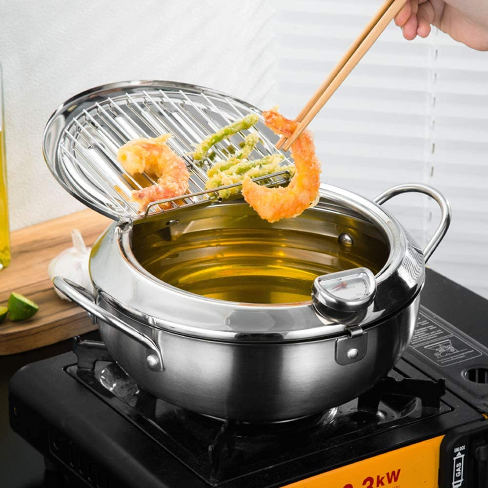 "BYBYCD Stainless Steel Deep Frying Pot Deep Frying Pan with Thermometer and Oil Drip Drainer Rack Japanese Style Tempura Deep Fryer Pot 2200 ML(Diameter: 7.9"") …"