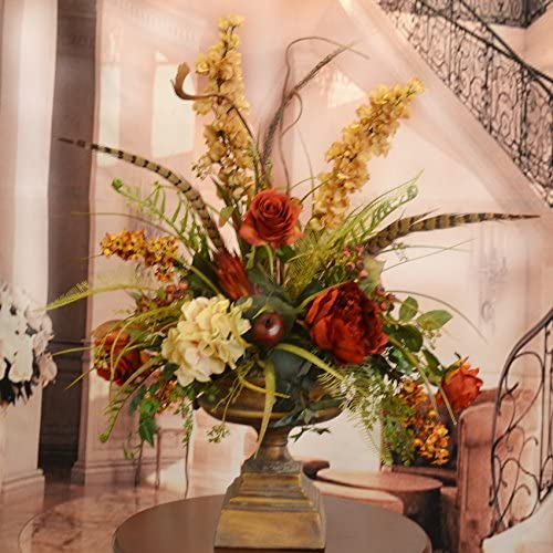 Amazon Com Deep Red And Gold Large Silk Flower Arrangement With Feathers Home Kitchen