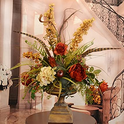 Amazon deep red and gold large silk flower arrangement with deep red and gold large silk flower arrangement with feathers mightylinksfo