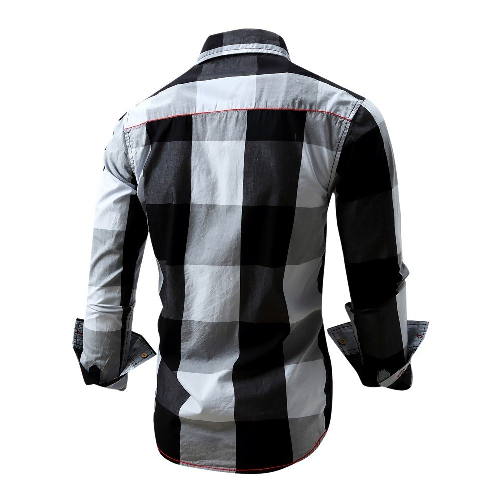 Overmal Men's Checked Shirt Long Sleeve Non-Iron Casual Blouse Cotton Slim Fit Plaid Top by OVERMAL Dress Shirts (Image #1)
