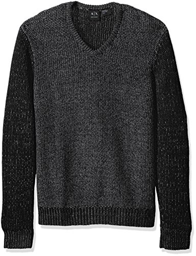 A|X Armani Exchange Men's Wool Blend Double Yard Dyed V Neck Sweater, Black/Charcoal/Pewte, Small (Sweater V-neck Double)
