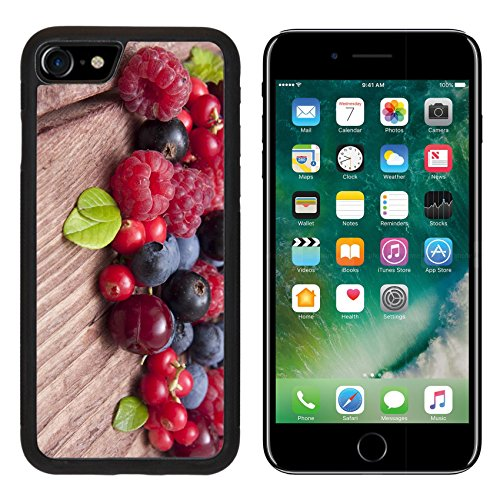 Type Backplate - MSD Premium Apple iPhone 7 Aluminum Backplate Bumper Snap Case iPhone7 Different type of wild berry fruits on wooden background IMAGE 22075479
