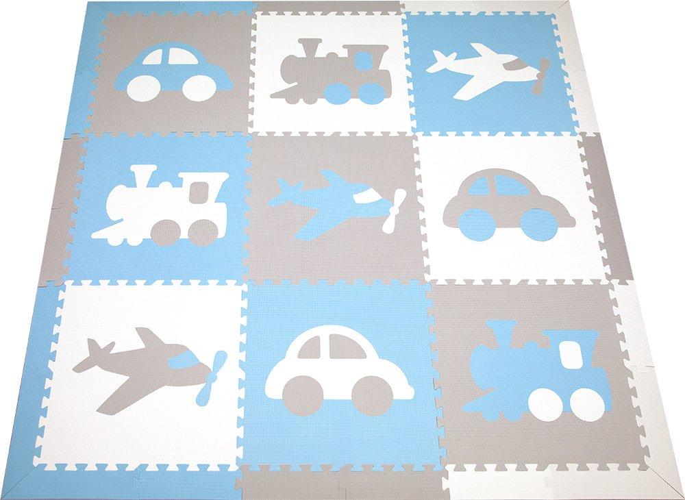 SoftTiles Kids Foam Play Mat- Transportation Theme- Premium Interlocking Foam Children's Foam Playmat for Playrooms and Baby Nursery (Light Blue, Light Gray, White) SCTRAWSH