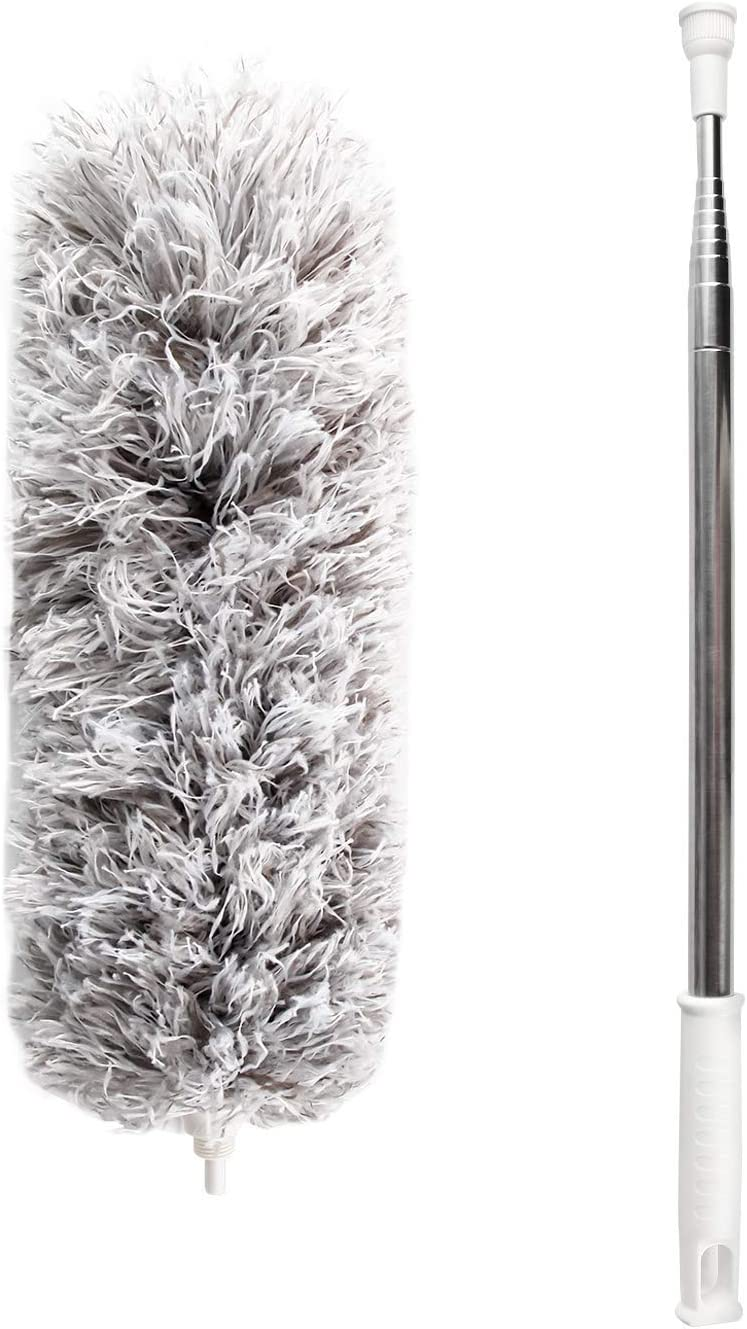 Feather Duster for Home,Microfiber Ceiling Duster with Telescoping Extension Pole 30 to 100 Long Duster for Cleaning Wall Duster for High Ceiling,Fan Duster,Cobweb,Interior Roof,Furniture,Car Roof