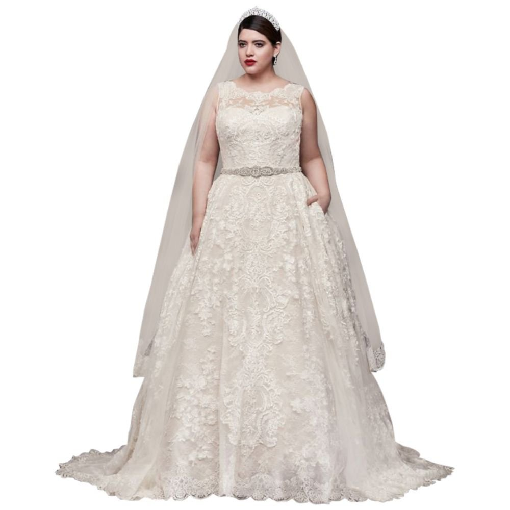 Lace Plus Size Wedding Dress With Pleated Skirt Style 8cwg780 At