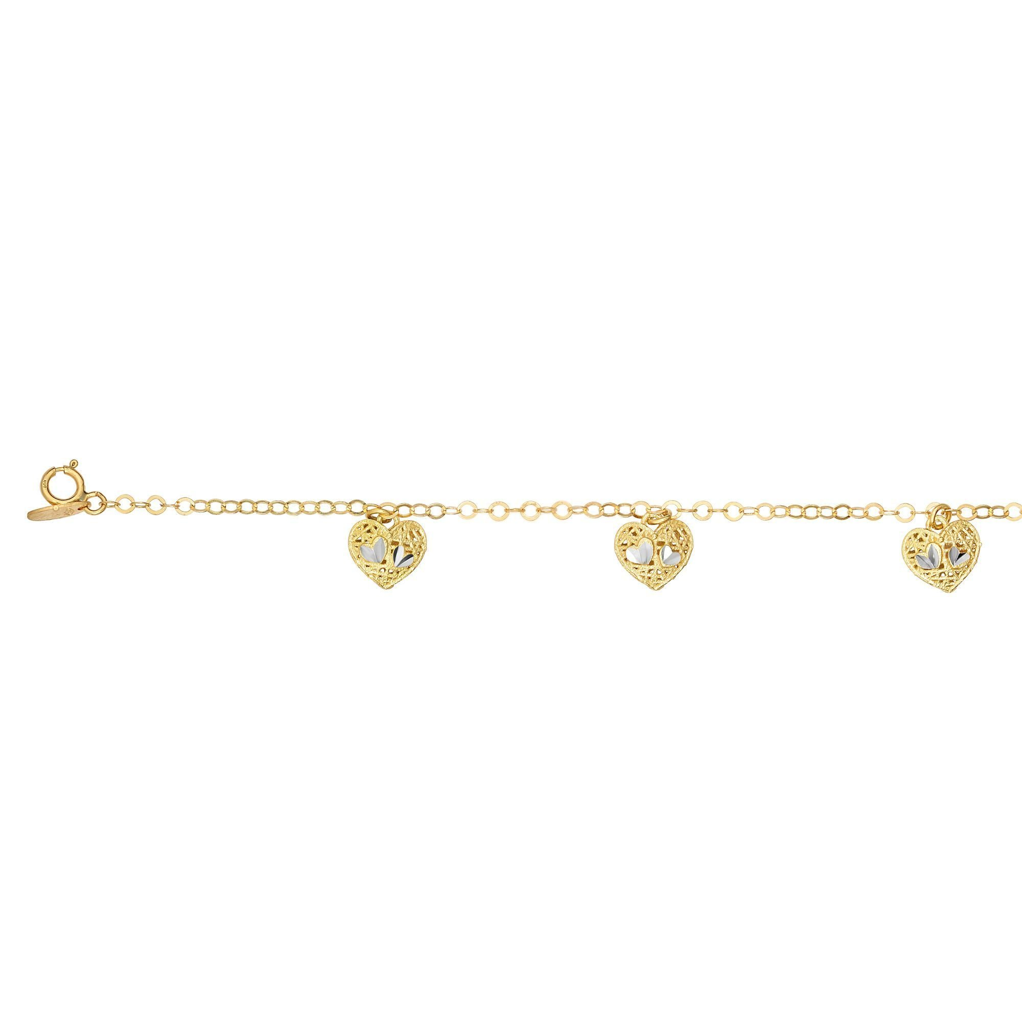 14kt 7.5'' Yellow Gold Diamond Cut 5 Stationed Heart Element on Link Bracelet with Lobster Clasp