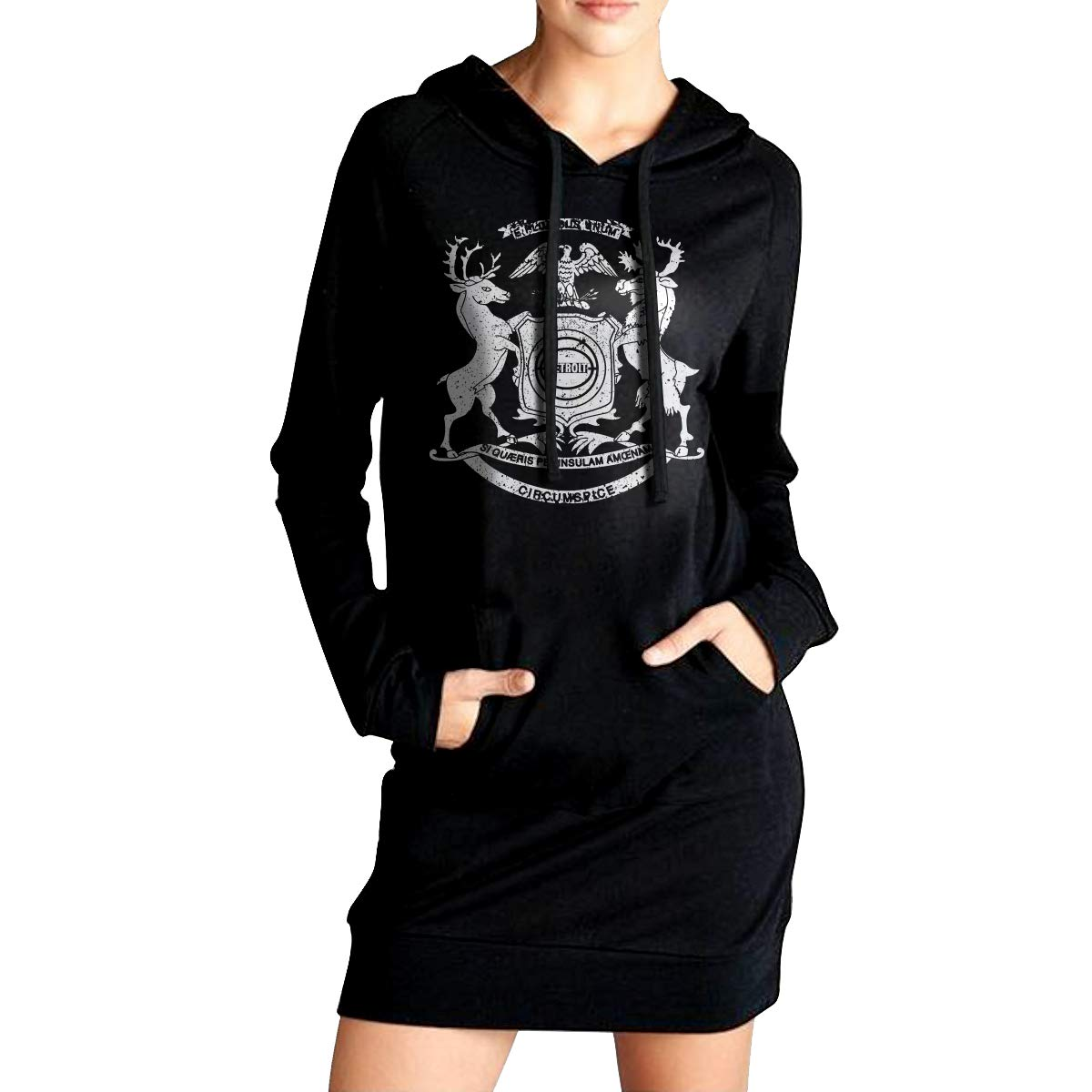 TDYUS DesignName Womens Cool Black Hoody With Pocket