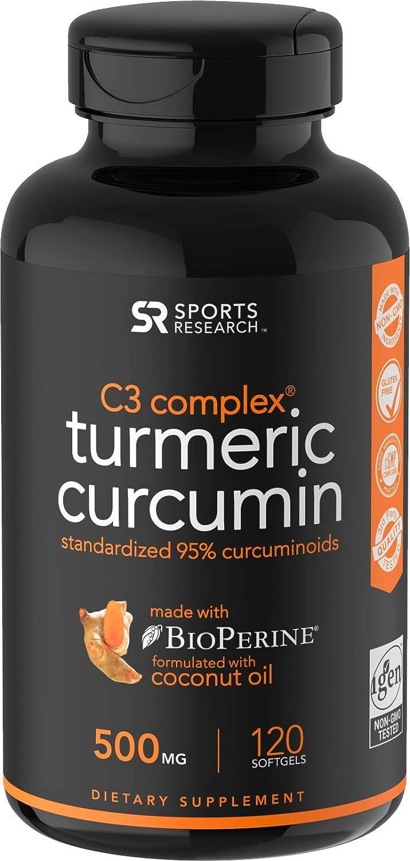 Turmeric Curcumin C3 Complex 500mg, Enhanced with Black Pepper Organic Coconut Oil for Better Absorption Non-GMO Gluten Free – 120 Count