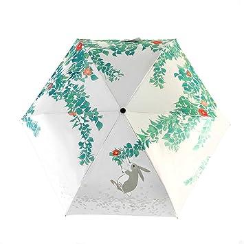Paraguas plegables-Cute Cartoon bosque conejo tres Paraguas plegable de 8 nervaduras bastidor resistente al