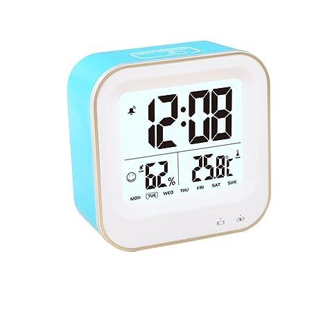 GuDoQi LED Reloj Digital Suave Nightlight Snooze Alarma Con el Tiempo Humedad Temperatura Semana Fecha Alarma