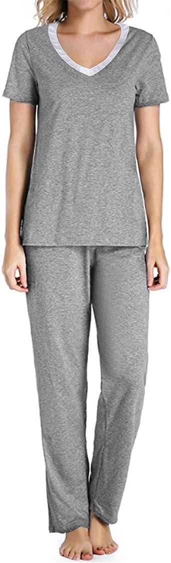 Aibrou Womens Nursing Pyjamas Short-Sleeved Two-Piece Maternity Pyjamas Set Nursing Shirt and Trousers