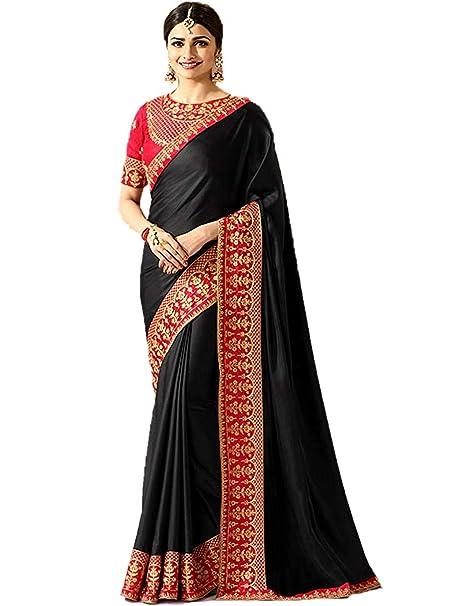 9b44b5fa0abf13 Kassesh TF Women's Silk Saree with Heavy Work Blouse (Vinay-Sprkl, Black,