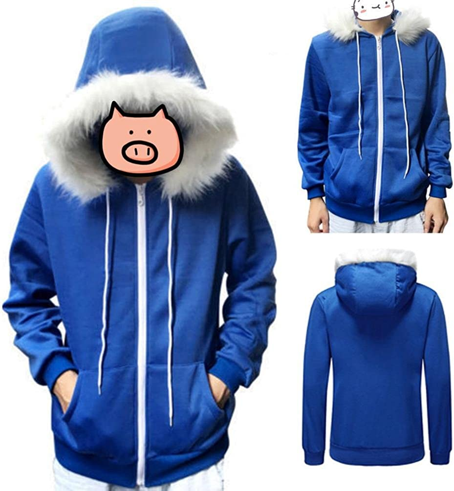 Men Women Cosplay Blue Fleece Hooded Jacket Sweater Costume Warm Sport Coat
