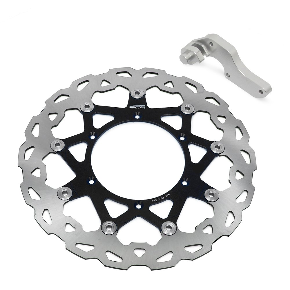 320mm Black Front Floating Brake Disc + Adaptor Bracket - Yamaha YZ125 WR125 WR250 YZ250 WRF250 YZ250F WRF400 YZF400 WR426F YZ426F WRF450 YZF450 98-15