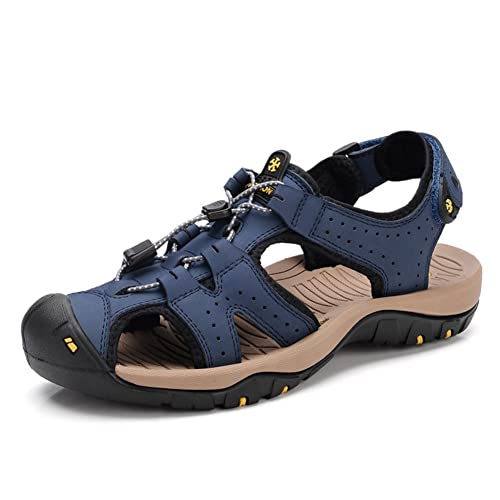 1d30228a3 Men s Outdoor Leather Fisherman Sandals Summer Sports Hiking Water Shoes  Walking Closed-toe Sandals (