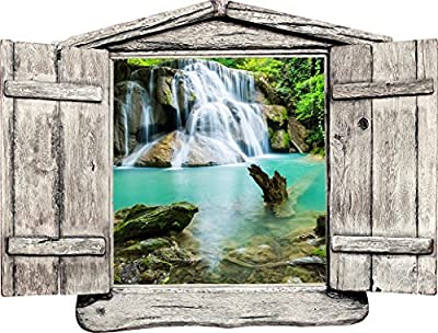 "24"" Window Landscape Country Scene Instant Nature View WATERFALL DAY #2 WOODEN OPEN Wall Sticker Decal Room Home Office Art Décor Den Mural Graphic SMALL"