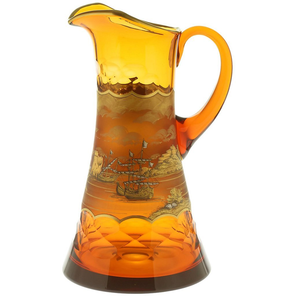 Exclusive glass jug ''Art Queen'' 1500 ml (50.73 oz), gold, glass, modern style (GERMAN CRYSTAL powered by CRISTALICA)