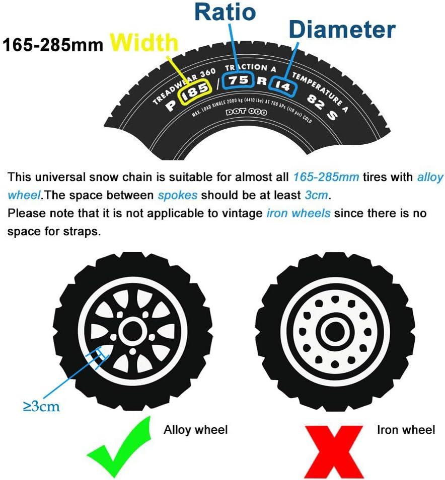 6//8 anti-dérapant Neige Voiture Neige singletyre Chaînes Universel pneus largeur 165-285 mm
