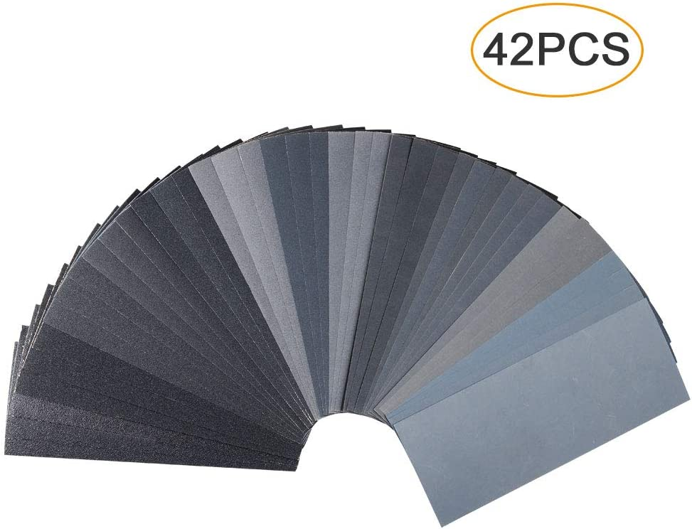42 PCS Wet Dry Sandpaper 120 to 3000 Assorted Grit Sand paper, 9 x 3.6 Inch Assorted Grit Sandpaper for Wood Furniture Finishing, Metal Sanding and Automotive Polishing, Sander Sheets 61G3kwi7TsL
