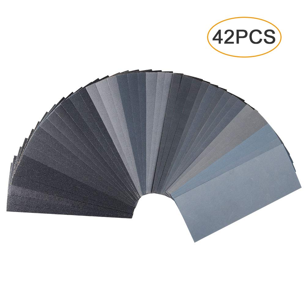 42 PCS Wet Dry Sandpaper 120 to 3000 Assorted Grit Sand paper, 9 x 3.6 Inch Assorted Grit Sandpaper for Wood Furniture Finishing, Metal Sanding and Automotive Polishing, Sander Sheets by Leerain