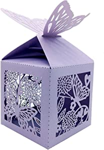50 Pcs Laser Cut Flowers and Butterflies Creative Chocolate Box Wedding Favors Candy Boxes Gifts Box Marriage Party Decors (LT. Purple)