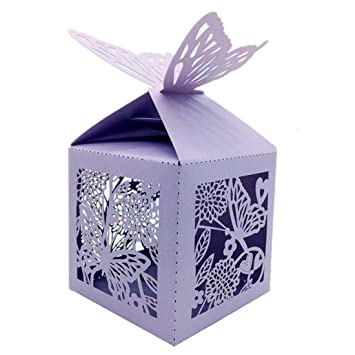 50//100 LOVE Heart Design Wedding Sweet Favor Party Boxes Purple//pink With Ribbo