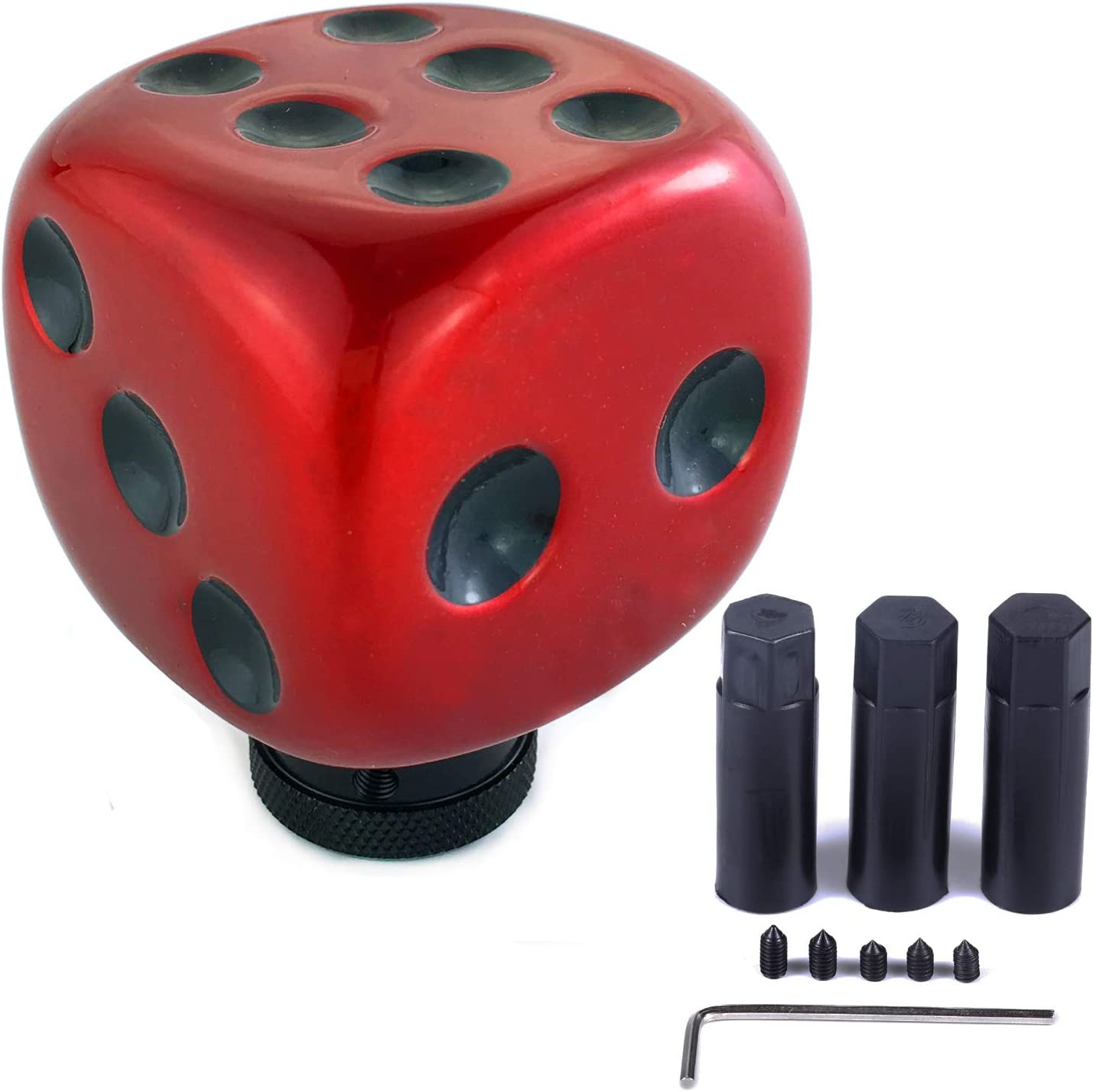 Arenbel Dice Manual Knob Universal Lever Stick Shifting Shift Head Car Speed Shifter Handle fit Most MT at, Red, Black