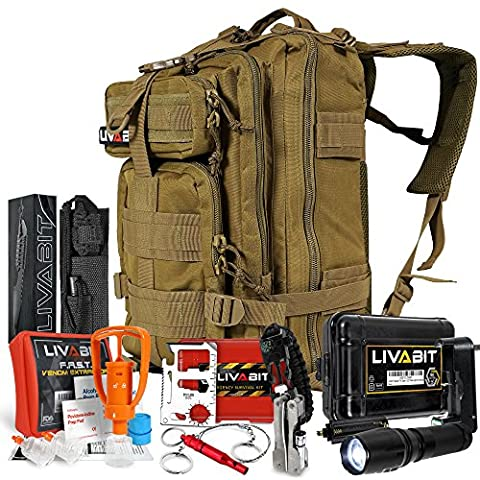 LIVABIT SOS Bug Out 3 Day Backpack Emergency Survival Camping Hunting Hiking Gear Essentials Tan For Preppers Hikers - 3 Day Emergency Survival Kit