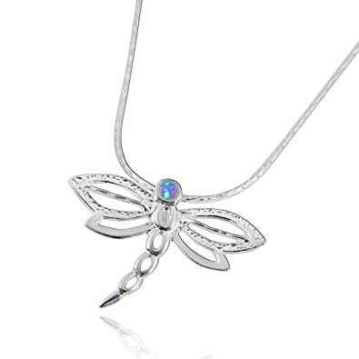 """5be136532 Dragonfly Pendant 925 Sterling Silver Necklace with 2 mm Created Blue Fire  Opal Stone, 18"""""""