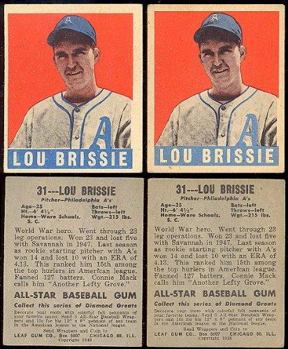 1948 Leaf Regular Baseball Card 31 Lou Brissie Of The