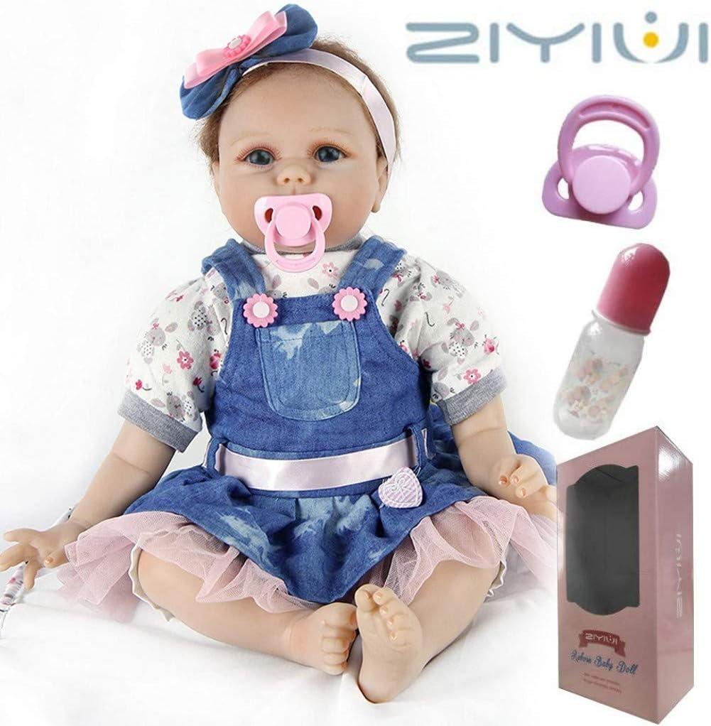 ZIYIUI Muñecos Bebé Reborn Niña 22 Pulgadas 55cm Silicona Suave Vinilo Vida Real Realista Hecho a Mano Juguetes para Bebés Recién Nacidos Mejor Regalos de Cumpleanos Reborn Toddler
