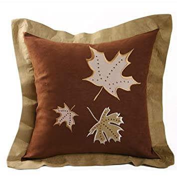 Amazon.com: Decorativo microsuede tri-leaf cojín 18 x 18 ...