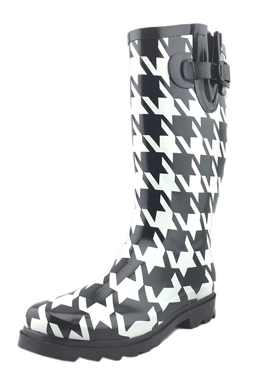 Vanlly Women's Rubber Fashion Riding Rain Boot, Big Houndstooth