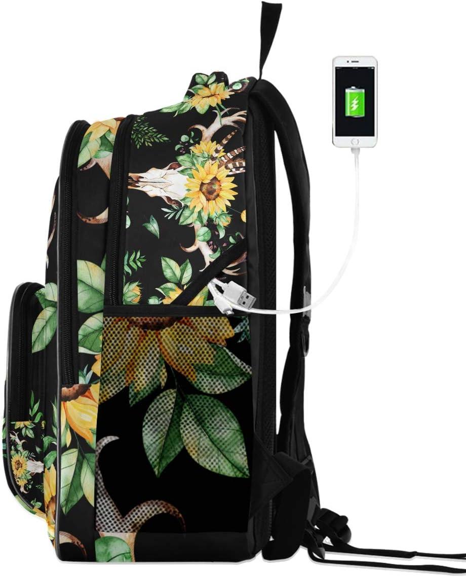 Laptop Backpacks for Women Men Sunflowers Leaves Skull Horns Large Field Pack Fit 17 Inch Computer Bookbag for School Business Travel Beach