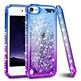 iPod Touch 6 Case, iPod Touch 5 Case, Ruky Quicksand Series Glitter Flowing Liquid Floating Bling Diamond Flexible TPU Women Girls Cute Case for iPod Touch5/6th Generation Case - Blue/Purple