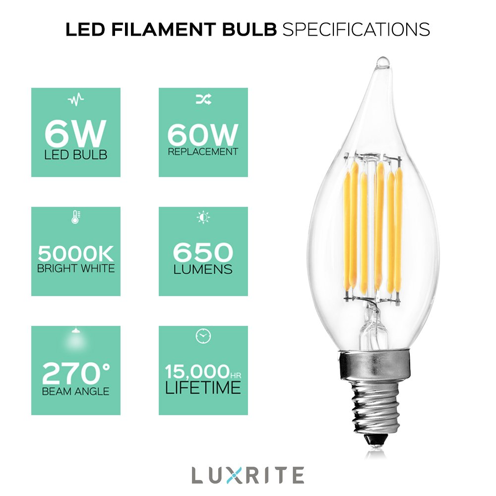 UL Listed 2700K Warm White 60W LED Candelabra Bulb 650 Lumens E12 Candelabra Base Luxrite E12 LED Filament Bulb 1-Piece 6W Flame Tip