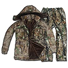DaMaiZhang Men & Women Winter Autumn Warm Camo Hunting Suit Clothing Suspender Trousers Fishing Overalls Down Coat camouflage Fleece Jacket